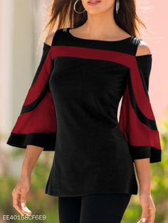 Open Shoulder Round Neck Patchwork Bell Sleeve blouse for women casual blouse fo. - - Open Shoulder Round Neck Patchwork Bell Sleeve blouse for women casual blouse for women work blouse for women chic blouse for women summer Source by ebuytidecom Bell Sleeve Blouse, Bell Sleeves, Batwing Sleeve, Long Sleeve, Bat Sleeve, Printed Blouse, Work Blouse, Types Of Sleeves, Shirt Blouses