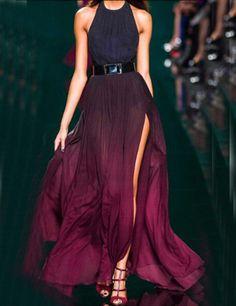 Halter vestito sfumato color vinaccia 21.65