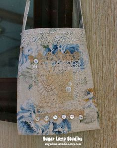 Blue Roses OOAK Fabric Collage HANDMADE Pouch with vintage