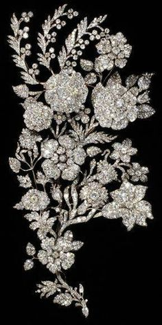 Diamond Bodice Ornament; Circa 1850.  Gorgeous!