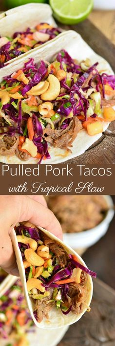 Pulled Pork Tacos with Tropical Slaw. These tacos are BURSTING with FLAVOR and made with sweet and spicy pulled pork and crisp, sweetened tropical slaw.