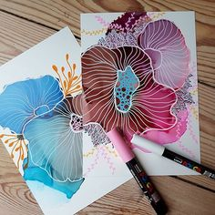 A few minis for the coral collection. These are not on my etsy shop, so please d… - INK PAINTING Alcohol Ink Crafts, Alcohol Ink Painting, Alcohol Ink Art, Doodle Drawing, Painting & Drawing, Gouache Painting, Abstract Watercolor, Watercolor And Ink, Watercolor Ideas