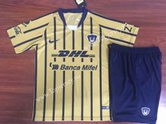 57d4be798 2018-19 Pumas UNAM Away Yellow Kids Youth Soccer Uniform Kids Uniforms