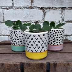 Yellow Memphis Modern Mini Plant Pot available to buy at Albert & Moo, for dark, moody interiors with a playful, quirky edge. Indoor Plant Pots, Mini Plants, Potted Plants, Farming, Agriculture, Yellow Plants, Bathroom Plants, Idee Diy, Garden Gifts