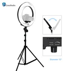 """LimoStudio 12"""" Ring Light Dimmable Fluorescent Continuous Lighting Kit 5500K Photography Photo Studio Light Stands with Carrying Case, AGG1773"""