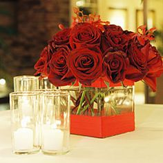 Roses in Square Ribbon Vase- A good idea and we could do it in purple or white