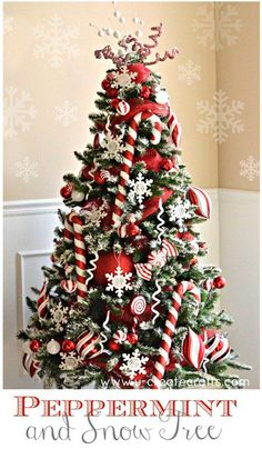 Learn how to create this Peppermint Christmas Tree in no time! Also shows you how to add snow to an artificial tree! Learn how to create this Peppermint Christmas Tree in no time! Also shows you how to add snow to an artificial tree! Christmas Tree With Snow, Candy Cane Christmas Tree, Gold Christmas Decorations, Beautiful Christmas Trees, Black Christmas, Noel Christmas, Christmas Themes, Xmas Trees, Candy Cane Decorations