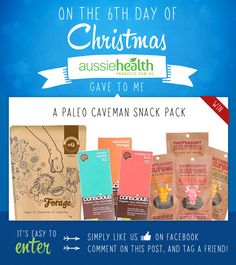 Day 6 - Win a Paleo Caveman Snack Pack including Forage Paleo Trailmix, Conscious Chocolate and Canterbury Biltong!  #competition #contest #giveawaway #sweepstake #win #health #eco #christmas #xmas #12DaysOfChristmas #12DaysOfGiveaways #paleo #paleodiet #cavemen #cavewoman #cavewomen   #crossfit #rawchocolate