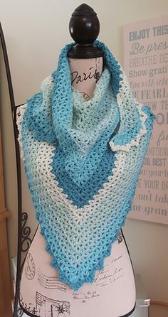V-eekender shawlette free on Ravelry.  Made with Caron cake
