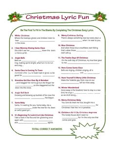 62 Ideas For Music Party Printables Christmas Games Merry Christmas Games, Printable Christmas Games, Christmas Carol, Christmas Holidays, Christmas Activities, Christmas Projects, Christmas Trivia, Christmas Ideas, Family Christmas