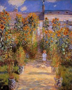 The Arist's Garden at Vétheuil, 1880 • Claude Monet.  Monet lived in Vétheuil from 1878-1881; he planted gardens wherever he lived.  The child along the path is Monet's son.