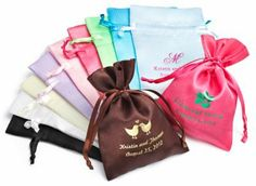"""Personalized Satin Favor Bags-- Use Bags for the seeds to """"Let our love grow"""""""