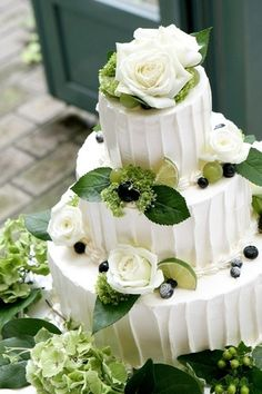 Green Themed Wedding Wedding Cake - Stay at Home Mum