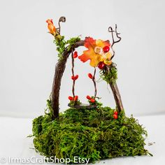 Fairy Garden Fall Swing Fall Fairy Item Fairy by IrmasCraftShop