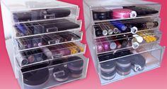 A website filled with organizational containers just for make-up.