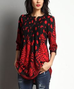 A bold pattern lends artful allure to this polished tunic, designed with a thigh-brushing hem that visually elongates your figure. Note: This is a one-of-a-kind item; prints may vary. Made for zulilyModel: 5' 8'' tall; 33'' chest; 24'' waist; 35'' hipsSize S: 33'' long from high point of shoulder to hemTrue to sizeKnit96% rayon / 4% spandex Machine wash; hang dryImported Shipping note: This item is made to order. Allow extra time for your special find to ship.