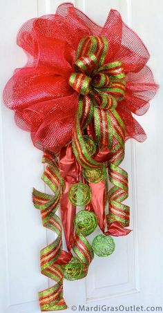 A lovely ribbon and ornament arrangement!