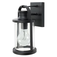 43532 12 inch sleek outdoor wall lantern black finish with clear glass shade - Abat Jour Color
