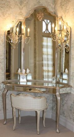 If you try vanity table or bedroom vanity with candle vanity lighting for makeup mirror with lights Dressing Table Vanity, Vintage Dressing Tables, Vanity Tables, Dressing Mirror, Corner Vanity Table, Table Mirror, Dressing Rooms, Elegant Home Decor, Elegant Homes