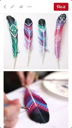 DIY patterned feathers