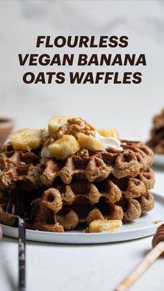 Healthy Desserts, Easy Desserts, Dessert Recipes, Banana Recipes, Vegan Recipes, Breakfast Waffles, Pancakes, Decadent Cakes, Banana Oats