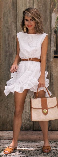 #summer #outfits White Little Ruffle Dress + Light Tote Bag