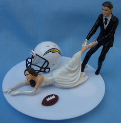 Wedding Cake Topper San Diego Chargers SD G Football by WedSet, $59.99