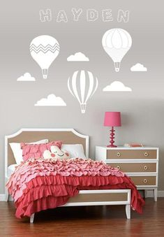 Vintage Hot Air Balloon and Cloud Wall Decal with Name Personalization Baby Bedroom, Girls Bedroom, Baby Decor, Kids Decor, Magical Room, Big Girl Rooms, Room Paint, My New Room, Hot Air Balloon