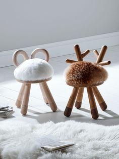 How cute are these little animal stools? They'd be perfect for a woodland theme or animal theme nursery or kids room. These would definitely grow with your children. Playroom Decor, Kids Decor, Nursery Decor, Playroom Ideas, Project Nursery, Nursery Ideas, Playroom Storage, Kids Storage, Storage Ideas