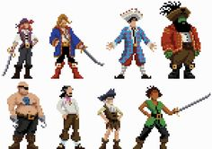 Some character sprites inspired by one of my favourite point and click adventure game series, Monkey Island.