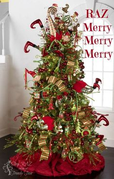 60 Gorgeously Decorated Christmas Trees From Raz Imports Christmas Elf Christmas Tree, Whimsical Christmas Trees, Grinch Christmas Decorations, Beautiful Christmas Trees, Holiday Tree, Christmas Themes, Christmas Love, Christmas Wreaths, Christmas Holidays
