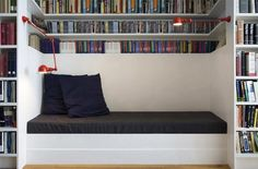 Elizabeth Roberts, bookcase with built in bench, Fort Greene townhouse remodel, Remodelista