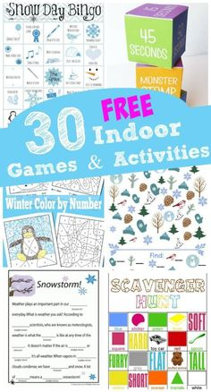Winter games & activities with free printables -- perfect indoor activities to keep the kids busy!