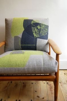 Maxine Sutton, screen print with embroidery Funky Furniture, Furniture Projects, Furniture Makeover, Furniture Design, Christmas Cushion Covers, Christmas Cushions, Home Living, Upholstered Chairs, Soft Furnishings