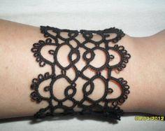Tatted Lace Bracelet Black Cuff Bracelet Gothic Bracelet