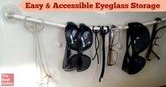 Eyeglass storage you can make in about 10 minutes -- keep your sunglasses right by the companionway!