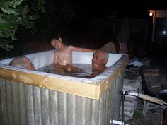 My wood fired hot tub that I built. Find out how to make it here: https://www.instructables.com/id/How-to-build-a-wood-fired-hot-tub/