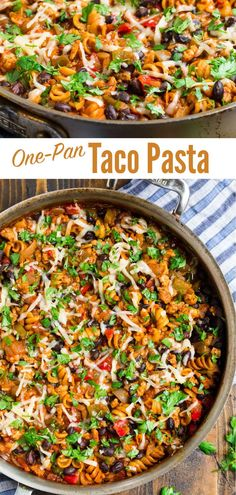 This wonderful Healthy Cheesy Taco Pasta cooks in ONE PAN. Made with chicken or ground beef and loaded with Mexican flavor, it's perfect for busy nights! Taco Pasta Recipes, Healthy Pasta Recipes, Healthy Pastas, Easy Healthy Dinners, Beef Recipes, Healthy Food, Healthy Mexican Recipes, Healthy Tacos, Skinny Taste