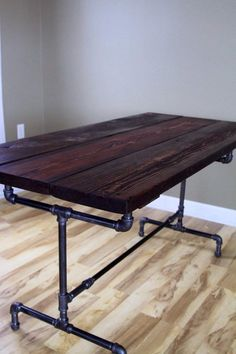 The Bountiful Harvest Table is the perfect foundation of your family dining needs or your entertaining space. Carefully constructed using solid reclaimed wood, smoothed and handcrafted with lots of character and rustic charm. Wood Bar Table, Pipe Table, Trestle Table, Salvaged Wood, Wooden Pallets, Reclaimed Lumber, Metal Furniture, Industrial Furniture, Industrial Pipe