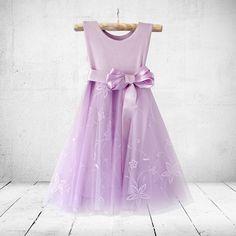 Jasmine in lavender. Flower-girl, christening or party dress. Little Miss Little Miss Dress, Girl Christening, Burgundy Dress, Special Occasion Dresses, 6 Years, Jasmine, Bodice, Lavender, Party Dress
