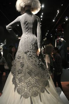 Crazy amazing! | Gaultier knitted dress Crochet at Gaultier Exhibit
