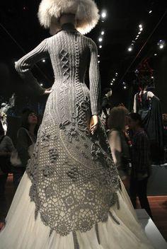 Crazy amazing! | Gaultier knitted dress Crochet at Gaultier Exhibit