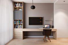 Рабочее место в кабинете-спальне современного интерьера.