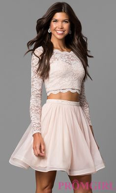 Buff Pink Two-Piece Sleeved Lace-Top Party Dress