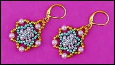 Handcrafted piece of perfect earrings. Flower Earrings, Beaded Earrings, Drop Earrings, Beading Tutorials, Beading Patterns, Diy Jewelry Videos, Earring Tutorial, Beads Tutorial, Gold Jewelry