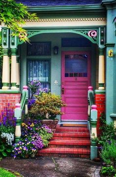 This exterior is very colorful with lots of decorations/ plants. Even though the colors are bright they are still distressed giving it a relaxing look. Beautiful Homes, Beautiful Places, Cool Doors, Grand Entrance, Doorway, Windows And Doors, Architecture, Interior And Exterior, Interior Design