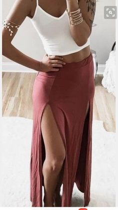 $20 Double Slit Fitted Maxi Skirt Dusty Pink With White Mini Crop Top Festival Inspired With Cool Gold Arm Cuff Jewellery