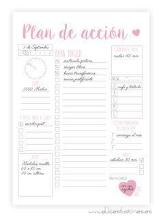 Imprimibles – Agenda – Plan de acción   Repostería creativa y Tienda online Más