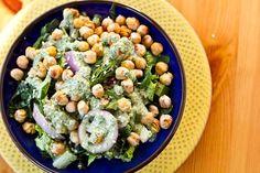 dinosaur dill crunch salad with salt & vinegar chickpeas.... oh my goodness