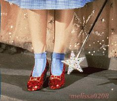 Wizard of Oz. Dorothy's shoes. Click the graphic to see the effect.